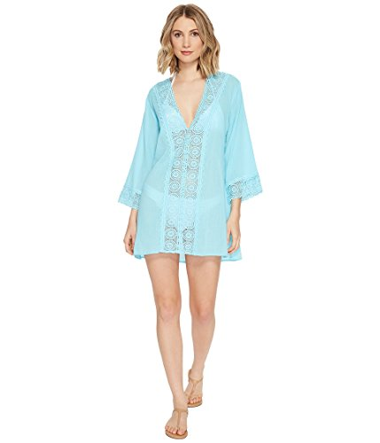 La Blanca Women's V-Neck Lace Tunic Cover Up, White/Island Fare, Medium