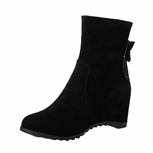 AmoonyFashion Womens Kitten Heels Frosted Solid Zipper Closed Round Toe Boots Black aMAEaov5wI