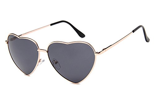 Gold Heart Wire (Chezi Women's Metal Colorful Tinted Lens Heart Sunglasses (gold, black))