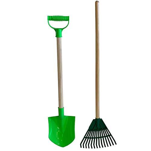 Kids Beach Toy Sand Shovel with Wood Handle & Garden Rake Set Landscape Cultivator Gardening Tool Heavy Duty (Kids & Adults)