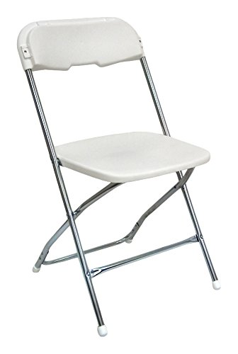 McCourt 61050 Series 5 Dining Height Stackable Folding Chair, Chrome Frame, Single, Bright White Seat/Back