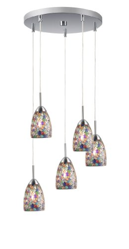 - Woodbridge Lighting 13225STN-M20MTC Venezia 5-Light 5-Port Mini Pendant Cluster, 13-Inch by 84-Inch Maximum, Satin Nickel