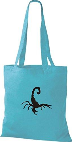 Krokodil - Bolso de tela de algodón para mujer azul celeste