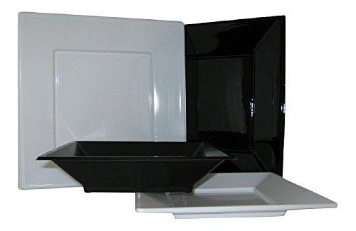 20 Party-Teller aus Kunststoff, viereckig, 18 cm, Farbe frei wählbar schwarz