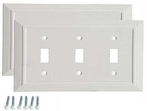 (Pack of 2 Wall Plate Outlet Switch Covers by SleekLighting | Classic Architecture Wall plates| Variety of Styles: Rocker/Receptacle/Toggle / & Combo | Size: 3 Gang Toggle)