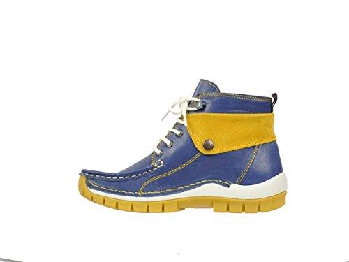 Wolky 4700 Jump - Zapatos de cordones de Piel para mujer Gris * azul - 283 blau/gelb Leder