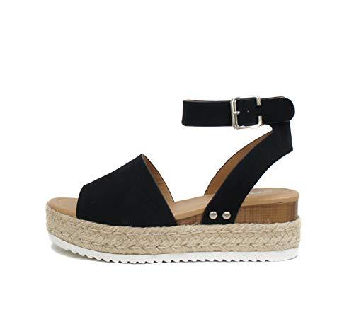 SODA Topic Open Toe Buckle Ankle Strap Espadrilles Flatform Wedge Casual Sandal (9, Black) ()