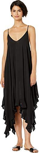 (Bleu Rod Beattie Women's Gypset Rayon Handkerchief-Hem Dress with Ruffle Black Large )