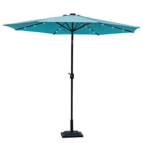 Sundale Outdoor 10 ft Solar Powered 24 LED Lighted Patio Umbrella Table Market Umbrella with Crank and Push Button Tilt for Garden, Deck, Backyard, Pool, 8 Steel Ribs (Blue)