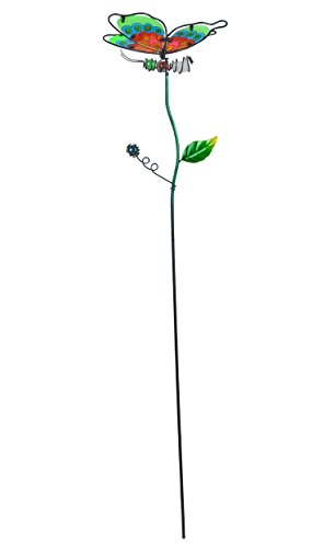 (Continental Art Center Night Glowing Butterfly Stake, Green, 5.1 by 6.5 by 29.1-Inch)
