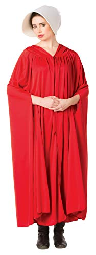 Best Handmade Costumes (Handmaid's Cloak, Red with White Wide Brim Bonnet, Adult)