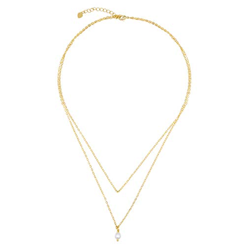 Small Cultured Pearl Drop Layering Necklace 18K Gold Chain Choker Dainty Minimalist Jewelry for - Dainty Pearl