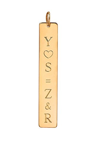 14k gold vertical nameplate necklace by Zoe Lev Jewelry