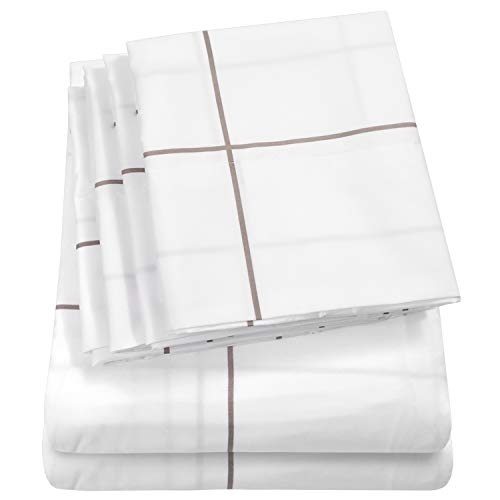 Sweet Home Collection Bed 6 Piece 1500 Thread Count Deep Pocket Sheet Set-2 EXTRA PILLOW CASES, VALUE, Queen, Window Pane White from Sweet Home Collection