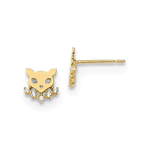 Cat Collars Swarovski (Solid 14k Yellow Gold Childrens Cat with CZ Cubic Zirconia Collar Post Earrings (6.5mm x 6.8mm))