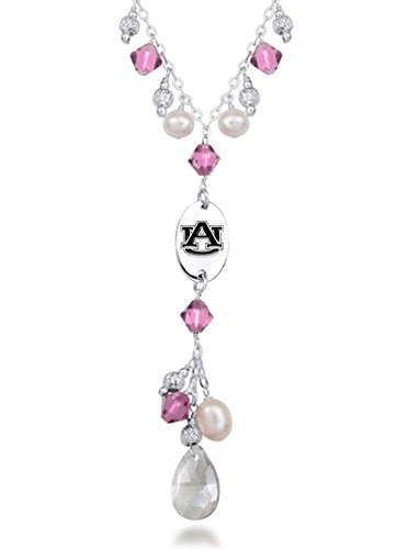 Auburn Tigers Pink Crystal and Pearl Necklace
