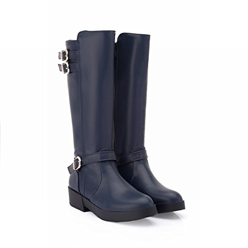 Show Shine Women's Fashion Buckle Platform Mid Chunky Heel Knee High Tall Boots (7, navy blue) 1.5' Platform Boots