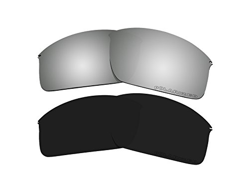 2 Pairs Polarized Lenses Replacement Black & Black Mirror for Oakley Wiretap New OO4071 - Frame Lenses Oakley Wire Replacement