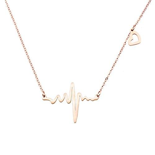 Dangle Heart Pendant Necklace - Mmiiss Heartbeat Lifeline Pulse Dangle Necklace Open Heart Charm Pendant Wavy Necklace Rose Gold