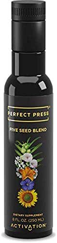 Activation Products, Perfect Press Five Seed Oil Blend – Vegan, Organic Sunflower Seed, Flax Seed Oil, Black Sesame Oil, Coriander Seed and Pumpkin Seed Oil with Plant Based Omega 3-6-9, 250ml