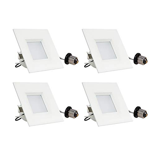 - OSTWIN Retrofit LED Recessed Downlight Fixture - Dimmable, Square, 3000K Soft White, 10W (50W Replacement), 607 Lm, 4-Inch, 4 Pack