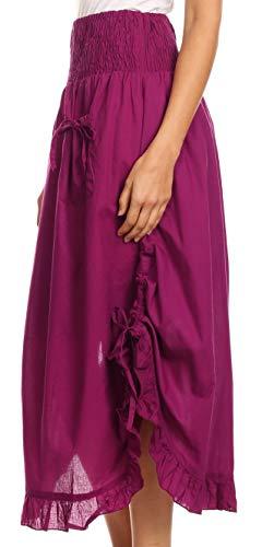 Ceinture lastique en Longues Coton Sakkas Coco Fuschia Volants Jupe Poches x0wSn7qAf