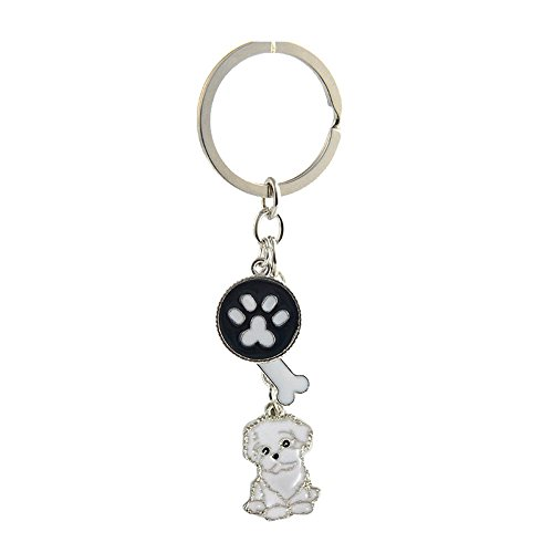 - Key-ring Keychain,Cute Metal Small Dog Puppy Keychain Keyring Keyfob Car Bag Charm Dog Tag Chains Birthday Christmas Gift (Bichon Frise)
