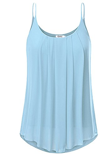 Layered Chiffon (OURS Women's Spaghetti Strap Pleated Chiffon Layered Cami Tank Top Sleeveless Blouse (XL, Light Blue))