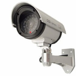 Outdoor Fake / Dummy Security Camera w/ Blinking Light Silver