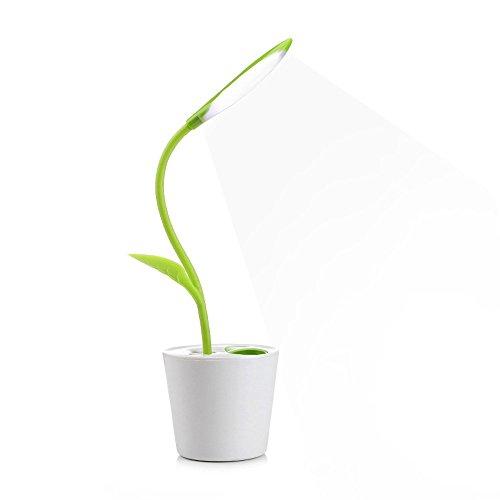 Touch Desk Lamp, Wireless LED Desk Lamp 3 Level of Brightness Sapling Pot with Plant Pen Pencil Holder (A/Fresh Green) ()