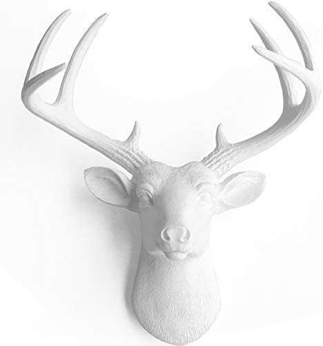 WallCharmers 14 Inch Mini White Faux Deer Head