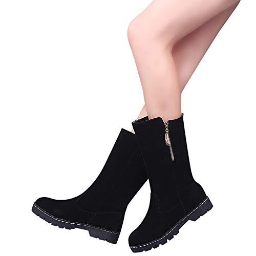 Fheaven Women Non Slip Round Toe Snow Boots Classic Biker Ankle Trim Flat Boot (US:8.5, BLack)