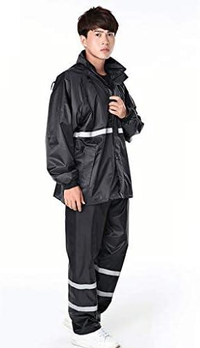 メンズフード付き防風防水レインコート軽量二重層屋外レインコート(ジャケットとパンツセット) (色 : 黒, サイズ さいず : XXXXL)