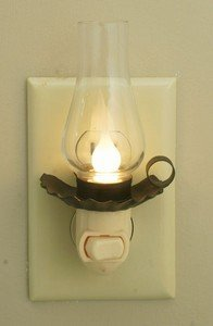 Rustic Vintage Replica Penns Grove Candle-Lite Night-Light with Glass Chimney
