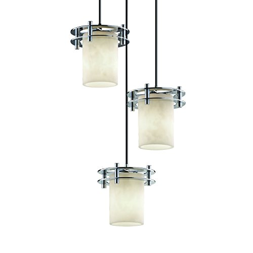 Justice Design Group Clouds 3-Light Pendant - Polished Chrome Finish with Clouds Resin Shade