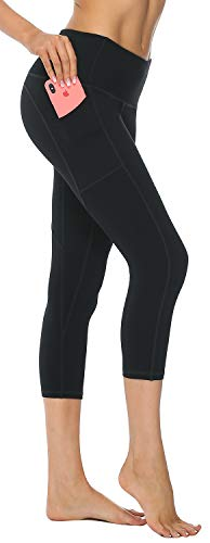 AFITNE Yoga Pants for Women High Waisted Capri Leggings Tummy Control Athletic Workout Leggings with Pockets Gym Black - M