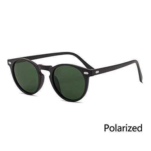 2019 Polarized Sunglasses Round TAC Lens TR90 Frame Driving Sun Glasses Oculos De Sol UV400,P2 Black DarkGreen