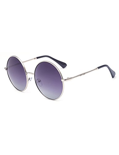 4f9124f243 Gee-Look Oversized Round Circle Mirrored Hippie Hipster Sunglasses - Metal  Frame (Chien Ash