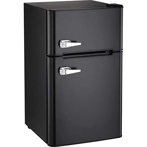 Kismile Compact Refrigerator, 2 Door Refrigerator and Freezer, Dorm or Apartment, 3.3 cu ft, Black