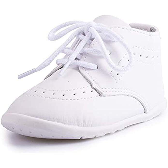 ohsofy Infant Baby Boy Oxford Shoes PU Leather Loafers Rubber and Soft Sole Wedding Dress Shoes Toddler Girl Baby Walking Shoes