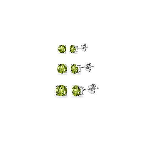 (3-Pair Set Sterling Silver Peridot Round Stud Earrings, 3mm 4mm 5mm)