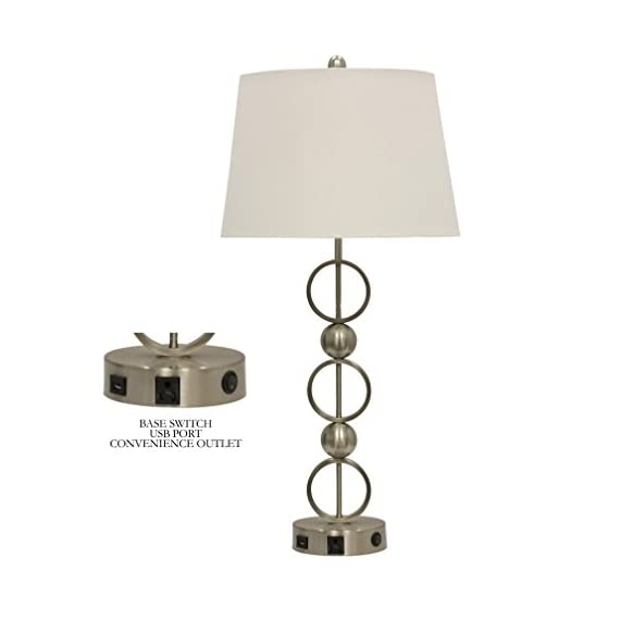 Abode 84 Brushed Steel Metal Table Lamp with Outlet, USB Port, and Base Switch - Modern, contemporary accent decor Ideal for living room, bedroom, study, or any area that could use more light Brushed steel metal base with cloth shade - lamps, bedroom-decor, bedroom - 31YEGi%2B6ZgL. SS570  -