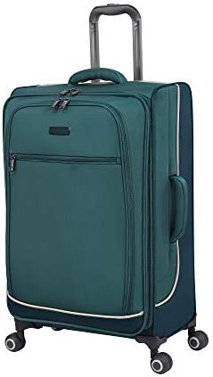it baggage Encircle Softside Expandable Spinner, Teal Blue, Checked-Medium 28-Inch