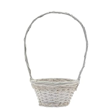 Wicker bridesmaid flower girl confetti petal basket white lace wicker bridesmaid flower girl confetti petal basket white lace trim mightylinksfo