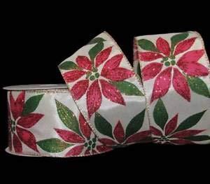 (25 Feet Christmas Red Glitter Poinsettia Flower Ivory Wired Ribbon 2 1/2