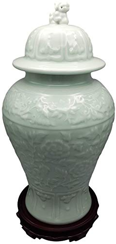 - Oriental Furniture Warehouse Chinese Vase Carved Celadon with Lion Head Lid