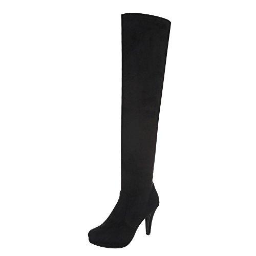 Zapatos para mujer Botas Tacón de aguja Mosqueteras Ital-Design Negro