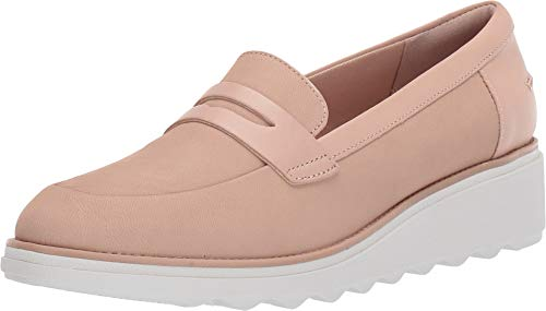 CLARKS Women's Sharon Ranch Nude Nubuck/Leather Combi 9 Wide US ()