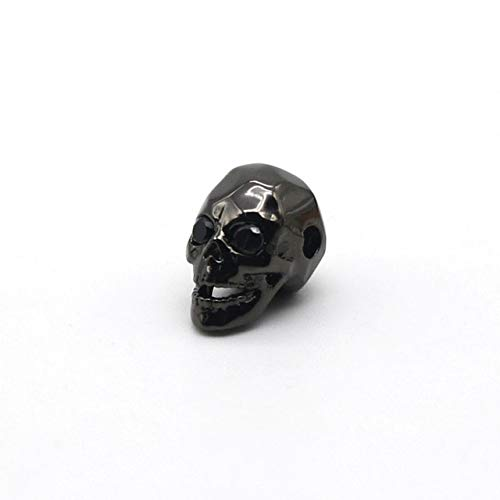 - Calvas Jewelry Accessories Gold-Color Brass Metal Micro Pave Cubic Zirconia Skull Skeleton Head Beads for Jewelry Making Supplies BS-1 - (Color: Gun Black Plated)