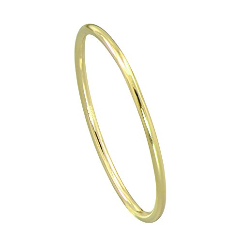 Paialco Sterling Silver Dome Band Comfort Fit Midi Ring 2mm Skinny Size #8, Yellow Gold Plated ()